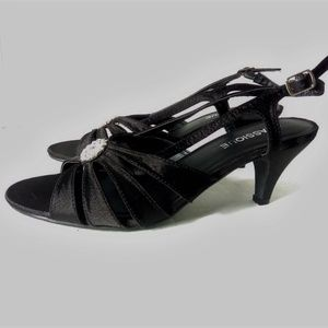 Classique Gianna  9 W Black Satin Fabric Slingback